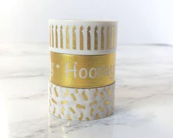 Set of 3 Gold Washi Tapes - Gold Washi Tapes - Gold Sprinkles Washi Tape - Gold Candles Washi Tape - Gold Birthday Washi Tapes Set