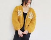 Mustard & Cream Chunky Knitted Fair-Isle Cardigan