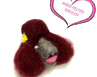 Chocolate Poodle Lapel Pin, Felt Brooch,Poodle Lover Gift,Sculptured 3 D Wool Poodle Brooch, Hand Felted Decor, Needle Felted Brooch.