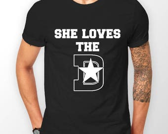 Mens She Loves the Dallas D Printed Cotton Black T-Shirt