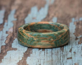 Aqua Blue Tennessee Whiskey Barrel Ring - Dyed Wooden Ring Wood Wedding Band Anniversary Gift Mens Wedding Band Womens Ring Engagement Ring