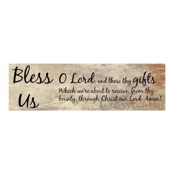 Catholic Meal Blessing, 20 x 6 Art Print, Prayer Before Meals, Bless Us O Lord,