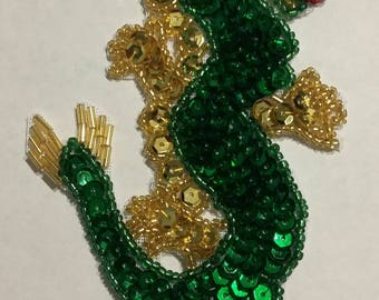 Small Chinese dragon bead and sequins handmade
