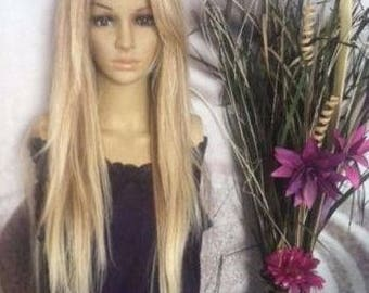 Human hair blend honey /ash blond mixed with 613 Blonde Lace Front Wig