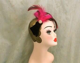Gatsby flapper girlf eather headdress,20s bridal costume,Burlesque,Vintage wedding,Art Deco headdress,Fuchsia feather crystal headband,party