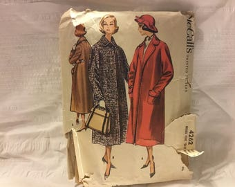 Vintage 1957 McCalls pattern 4262-size 16 misses easy to sew coat -classic winter wool lined with pockets for those cold nights.