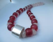 Hollowform bead with old glass beads & rose quartz