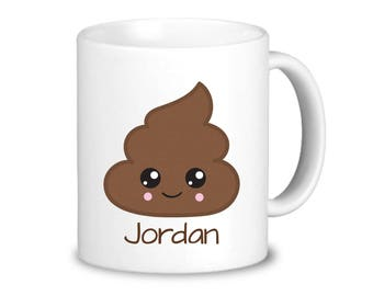 Poop Emoji Mug - Poop Face Emoji Mug Dinnerware, Kid Emoji Personalized Mug, You Pick Emoji, Plastic or Ceramic Mug - Kids Personalized Gift