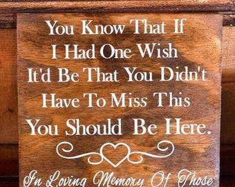 """You Should Be Here Memory Wooden Wedding Board Signs ~18""""x 6"""" ~ Wedding Signs~ Gifts~ Home~ Decor~ Wedding Decor"""