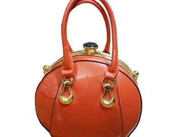 Designer Inspired Shimmering Orange Bowling Ball Top Handle Shoulder Handbag