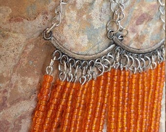 chandelier earrrings orange silver drops orange beaded dangles handmade earrings simple light modern fashion trendy elegant chandeliers