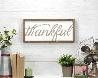 "Farmhouse Thankful Sign, Thankful Wall Sign,  Rustic Wall Decor, Thankful Sign On Wood, Thankful Sign, 21.5"" x 9.5"""