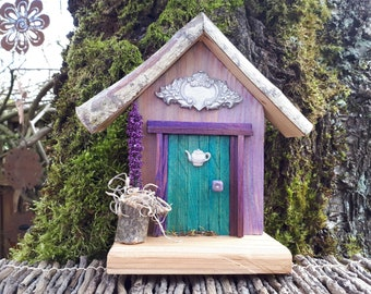 Teal Fairy Door with Decorative Rosette and Teapot