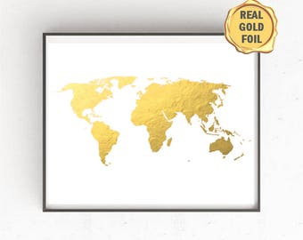 Gold map etsy gold foil world map print world map art map art print map poster gumiabroncs Image collections