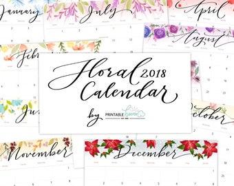 2018 Printable Calendar, Monthly Calendar, Floral Printable Calendar, Calendar Download, Calligraphy Calendar, Desktop Printable Calendar.