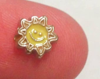 99 CENT SALE Sun Floating Charm for Glass Memory Locket FC14 - 1 Charm Beach Theme