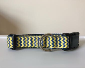 Glitter Blue & Yellow Chevron Collar