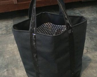 Glitter black stripe and canvas tote bag with magnetic button