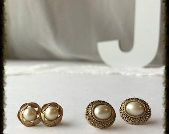 Vintage Pearl and Gold Stud Earrings