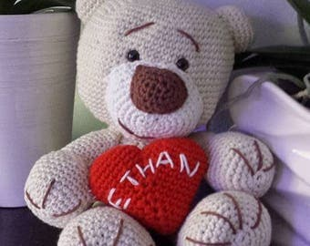 beige Teddy bear and all cotton personalized heart.