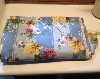 Blue Floral Stripe Fabric Yardage