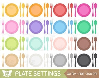 50 % OFF Plate Setting Clipart, Meal Settings Clip Art, Plates Utensils Cutlery Eating Spoon Fork Knife Dinner Dining Images, Commercial Use