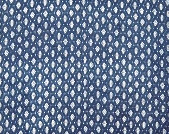 "Ikat Print, Blue Fabric, Quilting Fabric, Sewing Decor, Home Accessories, 45"" Inch Cotton Fabric By The Yard ZBC8994A"