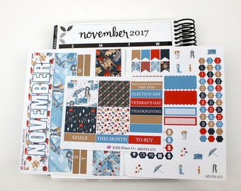 November Monthly Life Planner Kit Stickers! Perfect for the Erin Condren Planner! MNTHLY-033