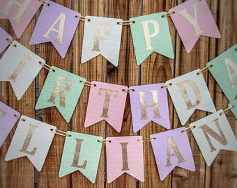 Pink Purple Mint Gold Happy Birthday Banner, Pink and Gold Birthday, Pink and Gold Birthday Banner, 1st Birthday Banner, Pink Girl Birthday