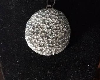 Textured Silver and Black Polymer Clay Necklace