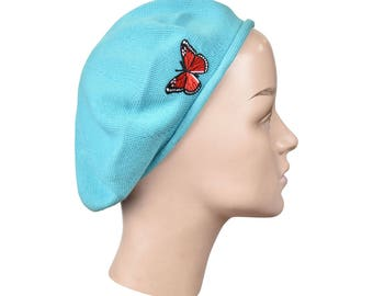 Ladies Aqua Blue Cotton Beret Hat With a Red Butterfly Applique Stylish Fashionable Comfortable Cotton Womens Hat Ladies Beret