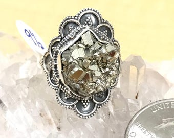Pyrite/Healer's Gold Nugget Ring, Size 9 1/2