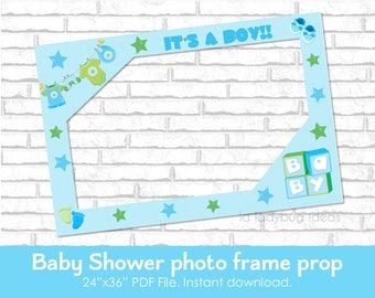 baby shower photo frame prop boy printable diy picture frame
