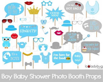 Awesome Boy Baby Shower Photo Booth Props. Printable. Blue And Gray. DIY Baby Shower