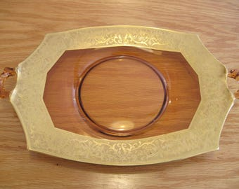 Amber Glass Platter/Tray with Gold Trim