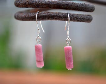 Rhodonite earrings, Rhodonite drop earrings, Rhodonite silver earrings, Silver earrings rhodonite, Rhodonite tiny drop earrings.