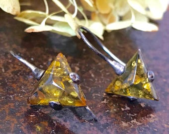 Vintage Sterling Baltic Amber Drop Earrings