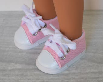 "Pink and White Converse Style Shoe for 14"" Dolls like the Wellie Wisher"