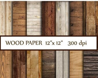 "40%SALE Wood Digital Paper: ""WOOD PAPER"" Wood Backdrop Printable Wood Digital Background Wood Scrapbook Paper Rustic Wood Paper  Instant Dow"
