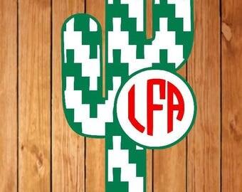 Aztec stripe cactus monogram decal, Cactus monogram decal, monogram decal, Circle monogram decal, striped monogram decal, plant decal