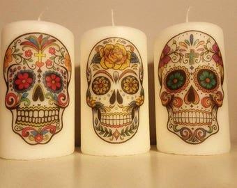 Handmade Set of 3 Candles Sugar Skull Unique Design Gift Idea
