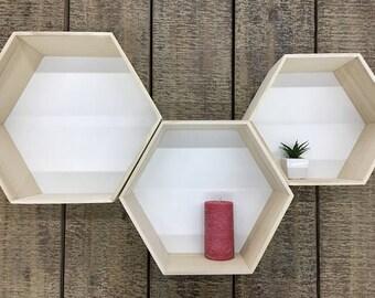 3 Pieces SALE 30% Hexagonal Wooden shelves, Floating shelf, Wooden shelves, Triangle Shelf,  Home Storage, Modern Shelving, Geometric Shelf