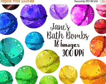 50% OFF Bath Bombs Clipart - Pampering Download - Instant Download - Faux Watercolor Bath Bombs - Grooming
