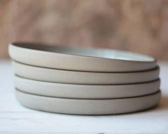 4 Mid Century Gray Stoneware Dinner Plates