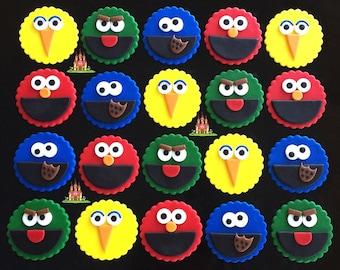 12 Edible Sesame Street Fondant Cupcake Toppers