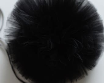 Black tulle pompom / wedding party decorations pom poms