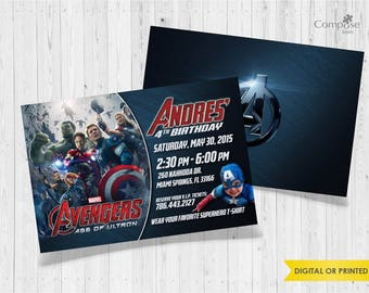 Avengers - Invite your guests with personalized party invitations - Digital or Printed - Birthday Invitation - Boy Birthday Party