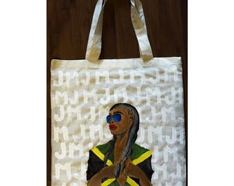 Jamaica Girl// Canvas Bag// Hand Painted