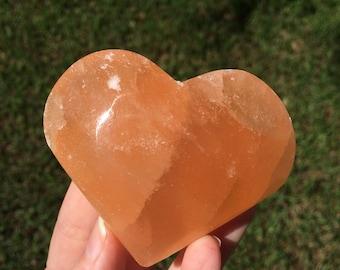 Red Selenite Crystal Heart (167g)