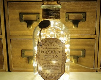500ml Harry Potter Slug & Jiggers Diagon Alley Apothecary Polyjuice Potion Clear LED Bottle Lamp Light by JayEngrave